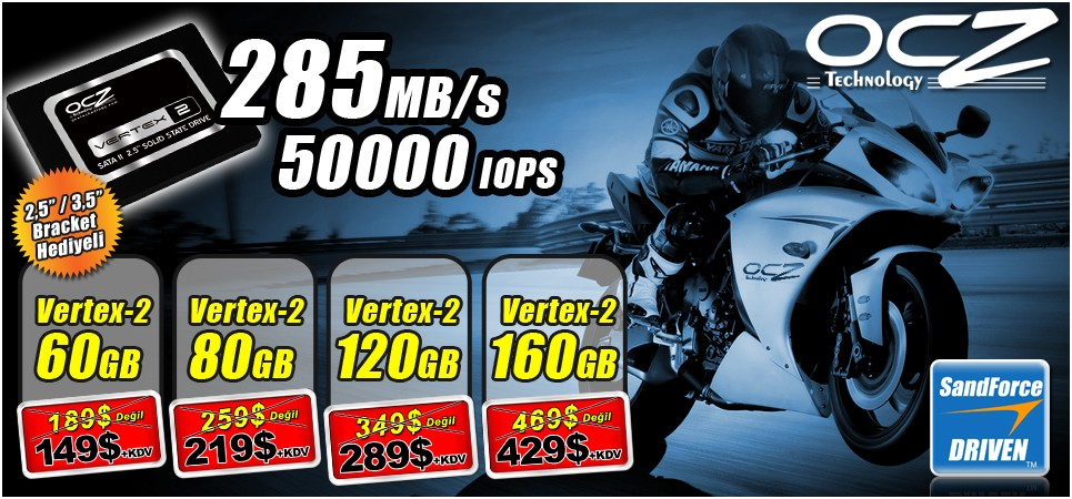 Ocz Vertex 2 SSDler ile 285MB/sn H�za Uygun Fiyatla Ula��n