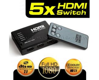 Dark Full HD 5 Giriş 1 Çıkışlı Uzaktan Kumandalı HDMI Switch (Seçici) (DK-HD-SW4X1)