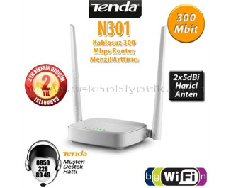 Tenda N301 4 Port WiFi-N 300Mbps 2 Anten Router Access Point