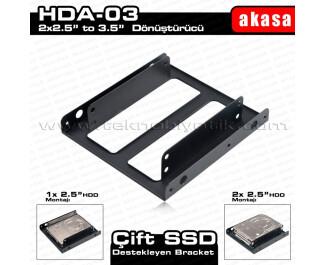 """Akasa 2 x 2.5"""" HDD/SSD Çift Yuvalı 3.5"""" Dönüştürücü (AK-HDA-03)"""