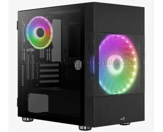 Aerocool Atomic 500W, ARGB Adreslenebilir RGB Fanlı, Dik Ekran Kartı Takılabilen, Tempered Glass Yan Panelli, USB 3.0 Bilgisayar Kasası (Ekran Kartı Sabitleme Aparatı Hediyeli!) (AE-ATMC)
