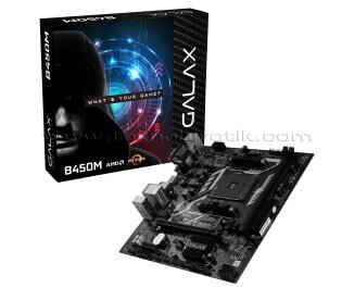 Galax B450M Socket AM4, DDR4 3200MHz+, Ultra M.2, USB 3.1 Gen1, HDMI, DVI, VGA mATX Anakart