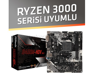 Asrock B450M-HDV R4.0 Socket AM4, DDR4 3200MHz+ (OC), Ultra M.2, USB 3.1 Gen1, HDMI, DVI, VGA mATX Anakart (Ryzen 3000 Serisi Uyumlu Versiyon)