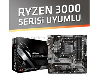 Asrock B450M Pro4 Socket AM4, 4 Slot Ram Yuvası, DDR4 3200MHz+ (OC), Quad CrossFireX, Ultra M.2, USB 3.1 Gen1, HDMI, DVI, VGA mATX Anakart