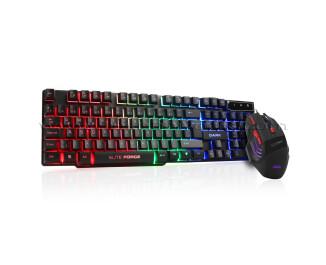 Dark Elite Force Mekanik Hisli Rainbow Aydınlatmalı Türkçe Q Oyuncu Klavye & Oyuncu Mouse Set
