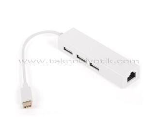 Dark USB3.1 - 3x USB 2.0 Çoklayıcı + USB Ethernet RJ45 Dönüştürücü (DK-AC-U31X23L)