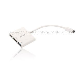 Dark 3in1 USB3.1 Type C Erkek - USB 3.0 / HDMI Dönüştürücü (4K UHD 60Hz) / USB 3.1 Type C Şarj Dönüştürücü (DK-AC-U31X32)