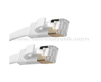 Dark 1m Cat7 BC AWG30 FTP Beyaz Slim Patch Network Kablosu ( DK-CB-NT7F100W )