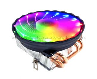Dark Freezer X121 Intel & AMD Uyumlu 120mm FRGB Ledli, 4pin PWM Fanlı, 4x Isı Borusu, Direkt Kontak İşlemci Soğutucu (DKCCX121)