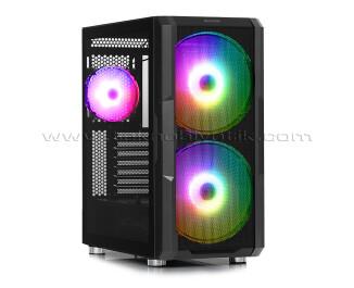 Dark Maxima V20 750W 80+ GOLD, Temperli Cam Yan Panel, 2x20cm Ön + 1x12cm Arka ARGB LED Fanlı, Dikey Ekran Kartı Takılabilen, USB 3.0 Type-C, ATX Oyuncu Kasası (DKCHMAXV20)