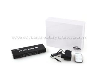 Dark Full HD ve 3D Özellikli 4 Giriş 2 Çıkış Uzaktan Kumandalı HDMI Switch (Seçici) (DK-HD-SW4X2)