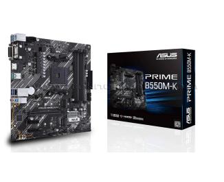ASUS PRIME B550M-K AM4 ,DDR4, 4400 mHz, HDMI, DVI, VGA, M2, USB3.2  mATX  Anakart