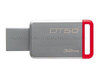 KINGSTON 32GB USB 3.1 Gen1(USB3.0) DATATRAVELER 50 (METAL/KIRMIZI) DT50/32GB USB Bellek