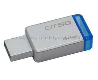 KINGSTON 64GB USB 3.1 Gen1(USB3.0) DATATRAVELER 50 (METAL/MAVİ) DT50/64GB USB Bellek
