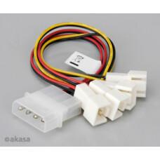 Akasa 4Pin Molex - 3Pin Fan Bağlantı Kablosu Dönüştürücü/Çoğaltıcı (AK-CB001)