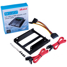 "Akasa 2 Adet SATA III Kablolu 2.5"" SSD - 3.5"" Yuva Uyumlu Dönüştürücü Bağlantı Seti (AK-HDA-11)"