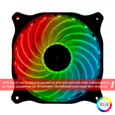 Dark 120mm Ultra Bright 18x RGB LED' li 6 Pin Kasa Fanı (RGB Kit ile Uyumlu!) (DKCF120RGB)