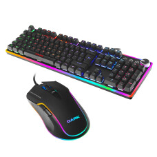 Dark Elite Force GKM2000 - Blue Switch Mekanik RGB Klavye + 10.000 DPI RGB Oyuncu Mouse Set
