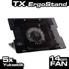 "TX ErgoStand 14cm LED FAN'lı 5 x Yükseklik Ayarlı, 2 x USB 9""-17"" Notebook Soğutucu ve Stand (TXACNBERGST)"